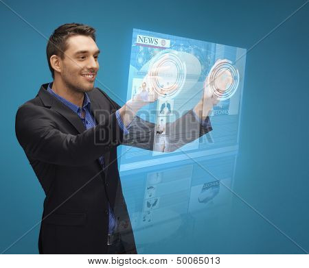 business, technology, internet and networking concept - businessman pressing buttons on virtual screen