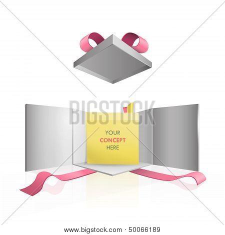 Yellow Posit Inside Gift Box. Vector Design.