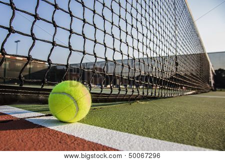 Tennis court with tennis ball close up poster