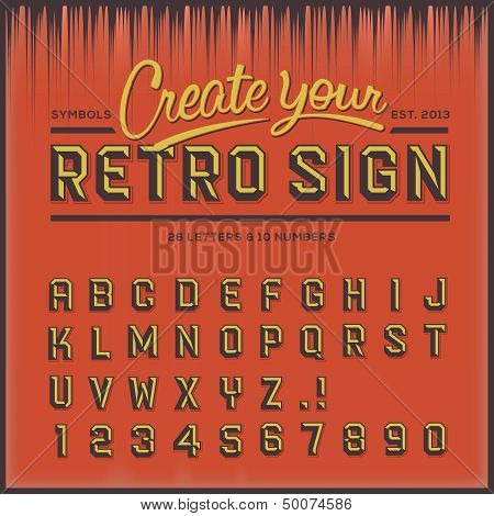 Retro type font, vintage typography, vector Eps10 illustration. poster