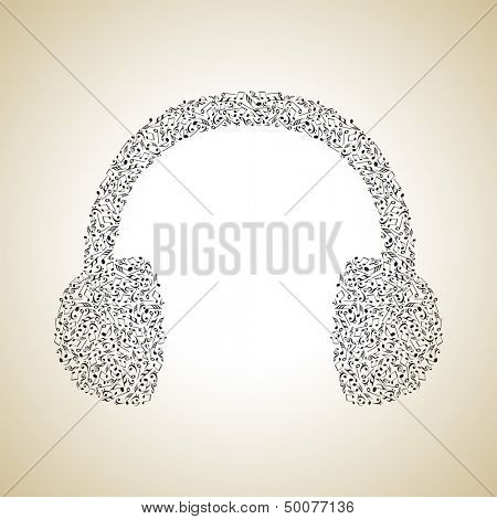 poster of Headphone made from musical notes, musical concept can be use as poster, flyer or banner for musical concert and parties.