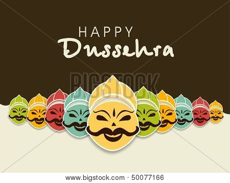 Indian festival Happy Dussehra concept with illustration of smiling Ravana face with his ten heads in various colors.