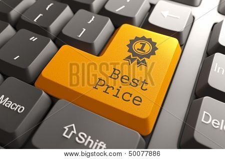 Orange Best Price Button on Computer Keyboard. Business Concept. poster