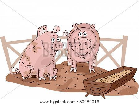 Illustration of a Pair of Muddy Pigs Inside a Pigpen