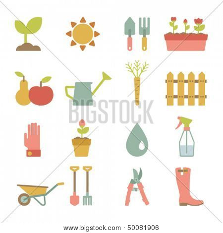 set of flat gardening icons