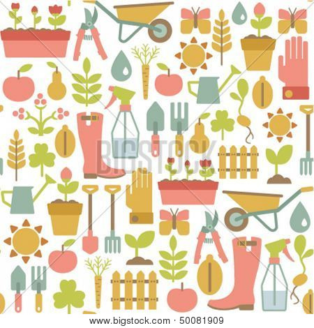 seamless pattern with gardening icons