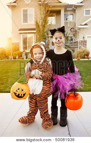 Kids Going Trick or Treating on Halloween