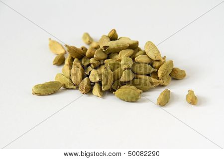 Cardamon Seeds On White Background