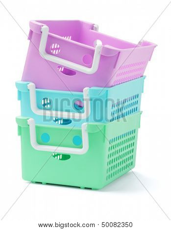 Stack Of Three Plastic Baskets On White Background
