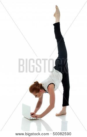 Busy entrepreneur doing yoga, isolated on white