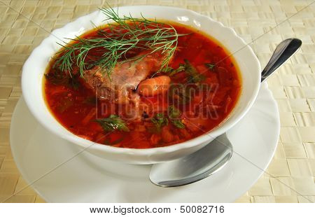 Borsch With Meat And Haricot