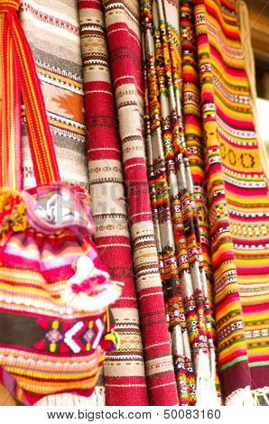 Traditional historical hande-made materials and embroidered .