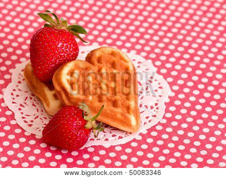 Strawberry with heart shaped waffle
