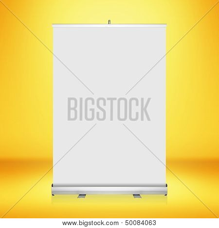 Clear empty photographer studio background with blank roll up banner display.