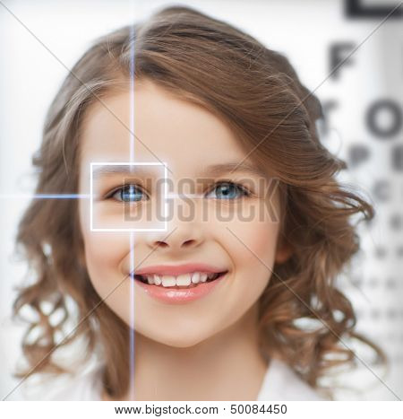 future technology, medicine and vision concept - cute girl with eye chart