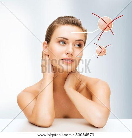 beauty and skin care concept - face of beautiful woman with dry skin examples