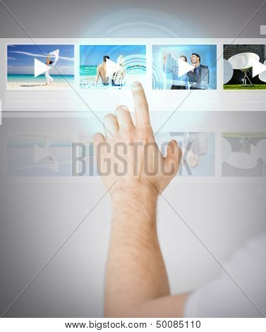 technology, internet and networking concept - man pressing button on virtual screen