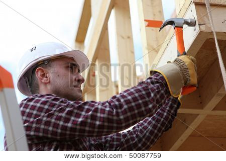 Housebuilder using a hammer