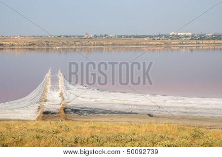 Salt spit in Kuyalnicky liman (lake) near Odessa, Ukraine poster