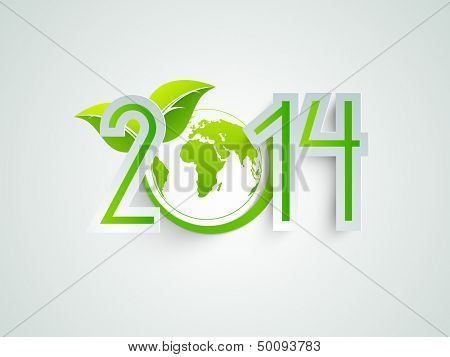 Happy New Year 2014 celebration background with save the world concept, globe covered with green leafs