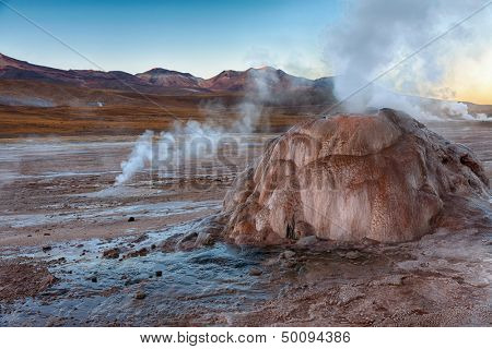 Geyser field El Tatio before dawn in Atacama region, Chile