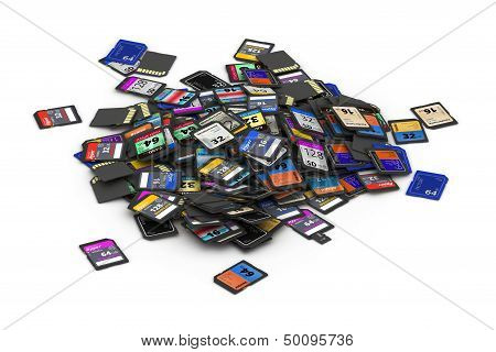 Heap of different SD and microSD memory cards  fictitious brand poster