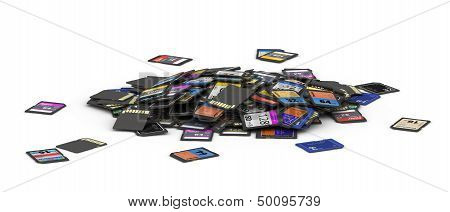 Small heap of different SD and microSD memory cards  fictitious brand poster