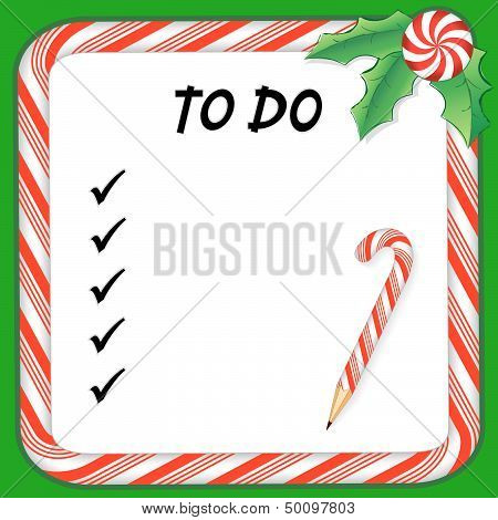 Christmas holiday to do list on whiteboard with candy cane frame in red and green, pencil, holly, peppermint candy. poster