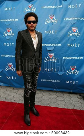 Four times Grammy Award winner Lenny Kravitz at the red carpet before US Open 2013 opening night