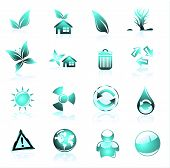 Collection of ecology and environmental icons light blue poster