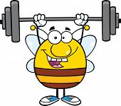 Happy Pudgy Bee Cartoon Mascot Character Lifting Weights poster