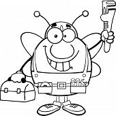 Black And White Pudgy Bee Plumber With Wrench And Tool Box Cartoon Character poster