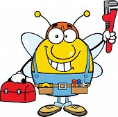 Pudgy Bee Plumber With Wrench And Tool Box Cartoon Character poster