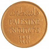 Israeli Mil coin from the British Mandate Era isolated on white background poster