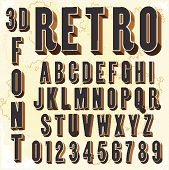 3D Retro type font, vintage typography with grunge background, vector eps10 poster