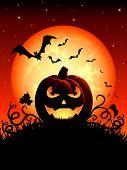 Halloween night background with Jack O' Lantern, illustration poster