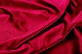 Red romantic soft velvet background with folds poster