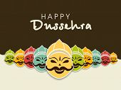 Indian festival Happy Dussehra concept with illustration of smiling Ravana face with his ten heads in various colors. poster