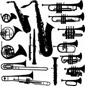 17 pieces of detailed vectoral brass instrument silhouettes. poster