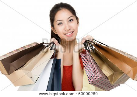 Aisa woman with shopping bag