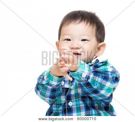 Asia baby boy clapping hand