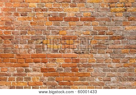 Detailed Old Red Brick Wall Background Photo Texture