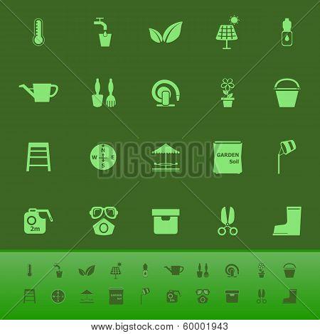 Home Garden Color Icons On Green Backgroundai