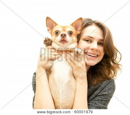 Beautiful Young Woman With Chihuahua Dog Isolated