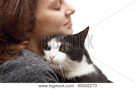 Beautiful Young Woman  With Monochrome Black And White Cat Isolated