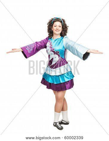 Woman In Irish Dance Dress Welcoming Isolated