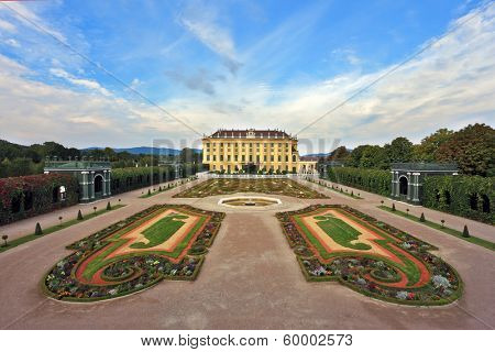 Area with flower beds regular geometric forms. Sch���¶nbrunn - the summer residence of the Austrian Habsburgs