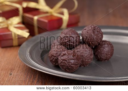 Chocolate candy, on a wooden table