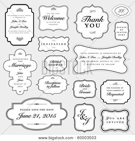 Vector Wedding Invite Frame Set. Easy to edit, all pieces are separated.