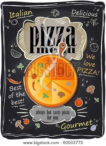 Vintage chalk pizza menu, chalkboard background. Eps10